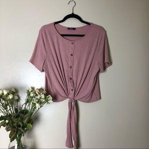 Tie-front blouse.